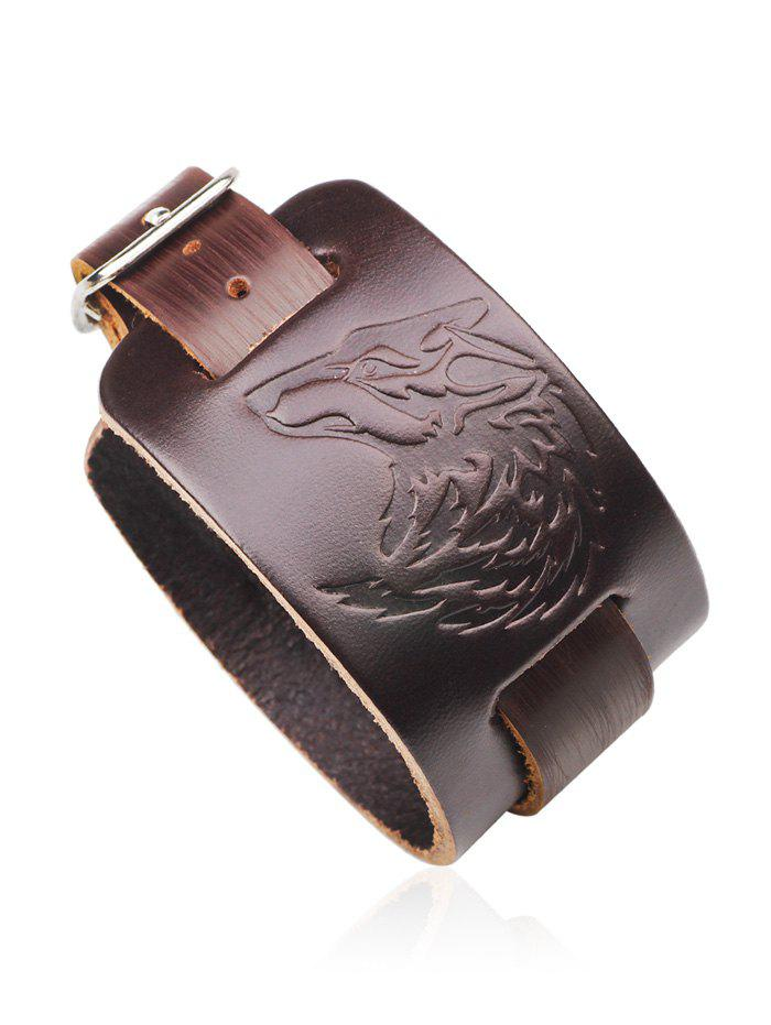 Best Punk Faux Leather Wolf Printing Bracelet
