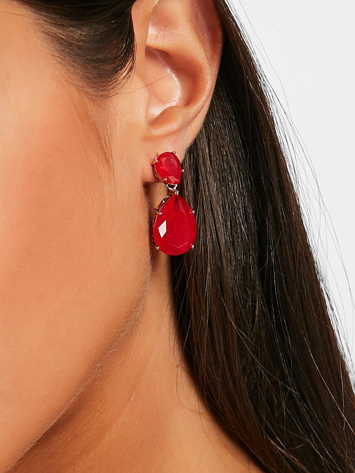 Buy Faux Gemstone Water Drop Dangle Earrings