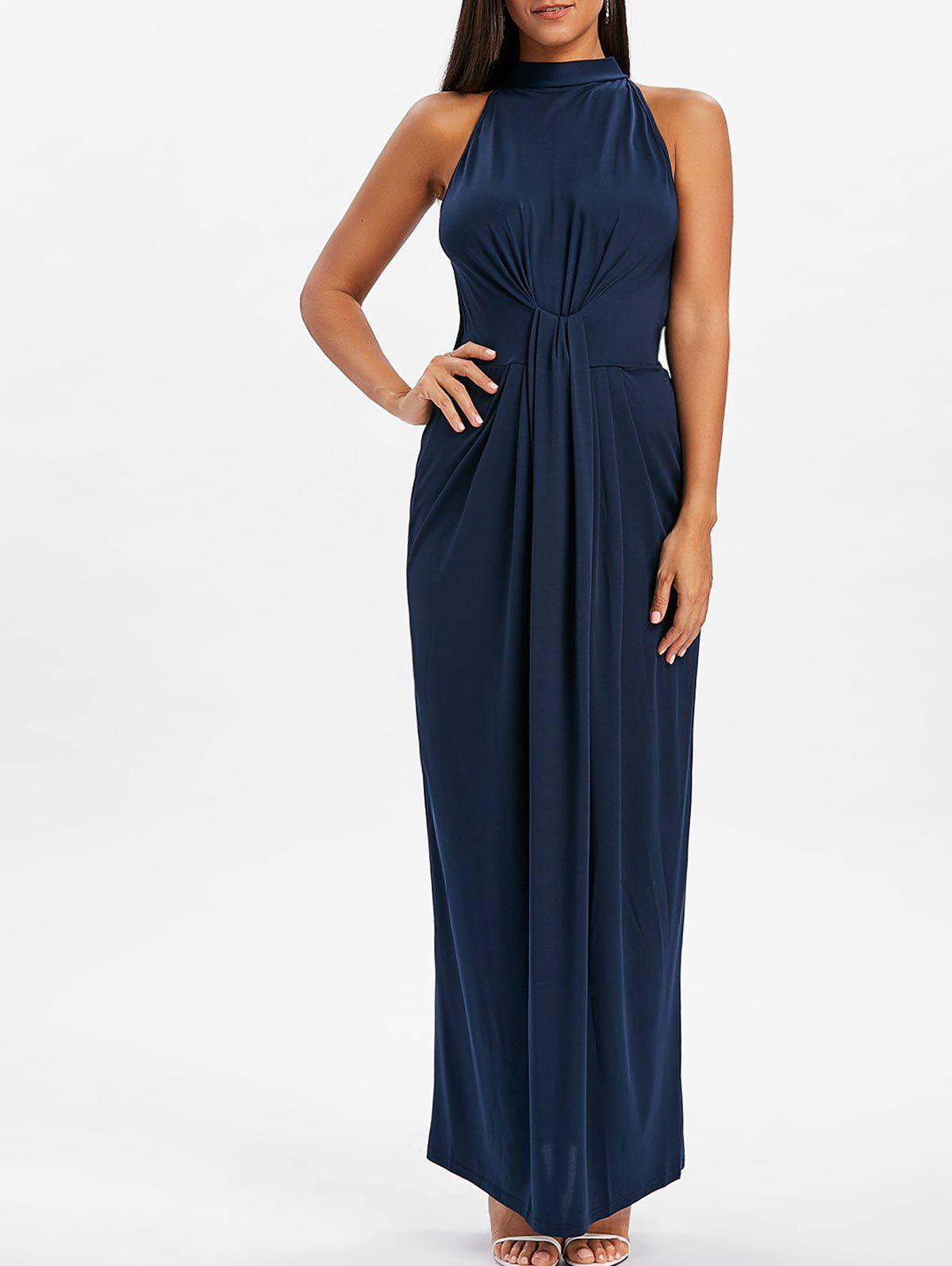 Buy Mock Neck Knot Maxi Dress
