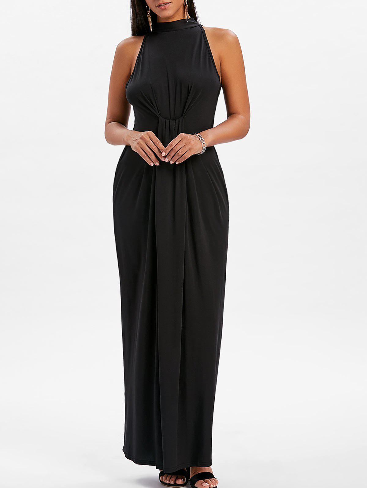 New Mock Neck Knot Maxi Dress