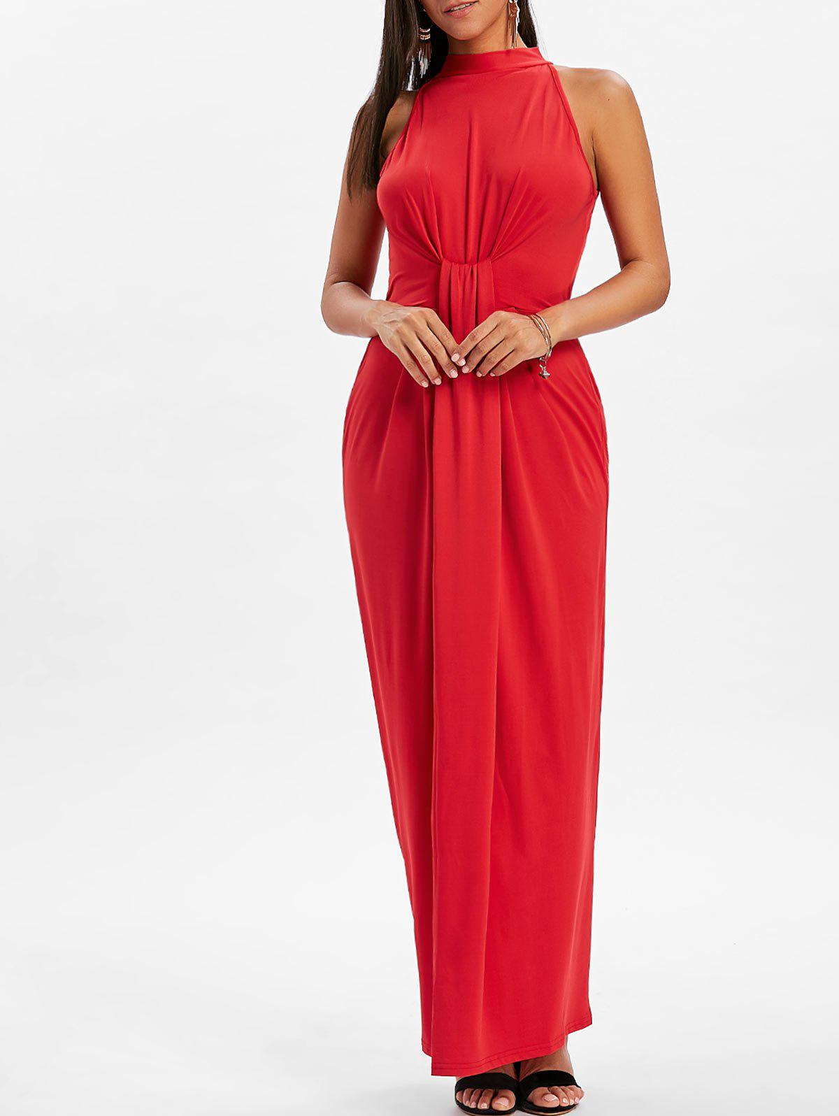Fancy Mock Neck Knot Maxi Dress