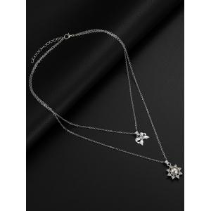 Layered Bowknot Sun Pendant Necklace Rhinestone Earrings Jewelry Set -