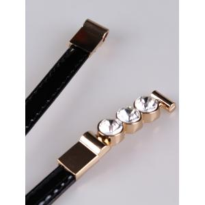 Unique Rhinestone Inlaid Faux Leather Skinny Belt -