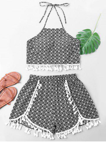 Cheap Halter Neck Flower Print Tassel Top with Shorts