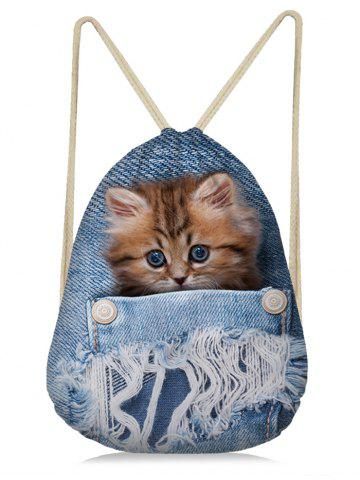 Outfit Cat Printed Jean 3D Drawstring Backpack