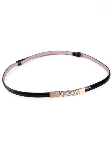 Affordable Unique Rhinestone Inlaid Faux Leather Skinny Belt