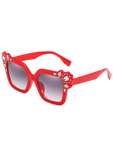 Trendy Anti Fatigue Rhinestone Inlaid Oversized Sunglasses
