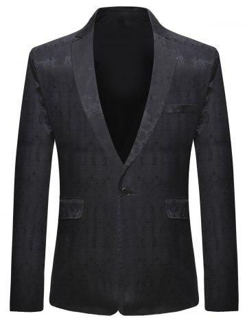 Trendy One Button Lapel Collar Vintage Pattern  Blazer