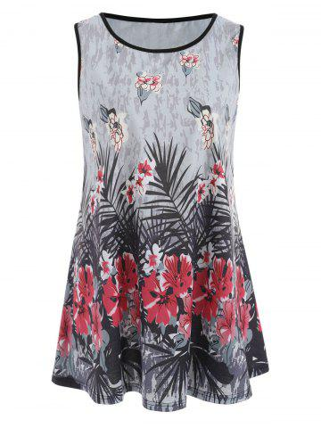 Online Floral Ink Painting Plus Size Tank Top