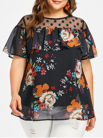 Best Dotted Mesh Panel Plus Size Floral Blouse