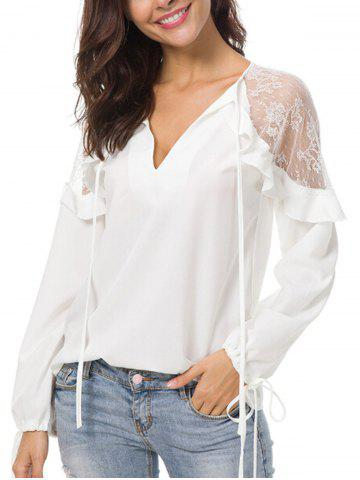 Store Plunge Mesh Panel Blouse