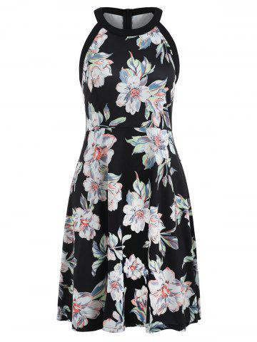 Hot Floral Print Round Neck Fit and Flare Dress