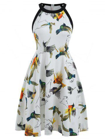 Sale Sleeveless Birds Print Fit and Flare Dress