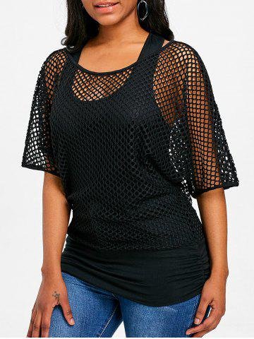 Discount Fishnet Mesh Panel Faux Twinset Top
