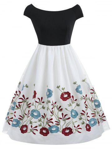 Buy Mesh Floral Embroidery Flare Dress