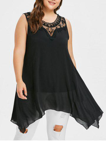 Fashion Plus Size Mesh Yoke Swing Top