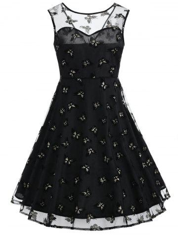Shops Sleeveless Mesh Butterfly Print Flare Dress