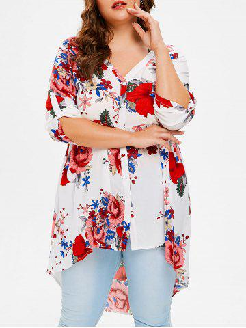 Unique Plus Size Floral High Low Shirt