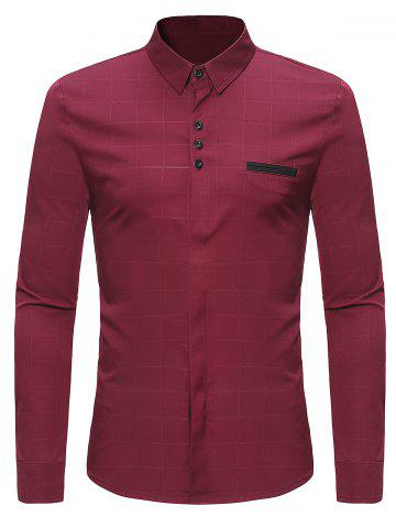 Long Sleeve Covered Button Check Shirt