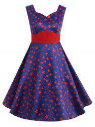 Vintage Star Print High Waisted Flare Dress -