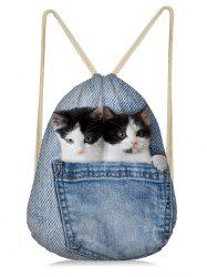 Cat Printed Jean 3D Drawstring Backpack -