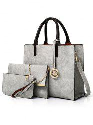 3 Pieces Simple Style Business Shoulder Bag Tote Bag Clutch Set -