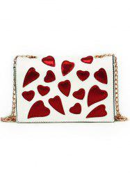 Patchwork Heart Printed Covered Chain Shoulder Bag -