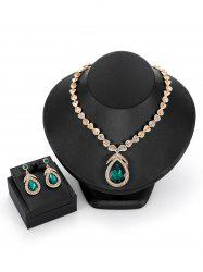 Faux Gemstones Drop Shaped Pendant Jewelry Set -