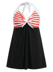 Bowknot Embellished Striped One Piece Swimwear -