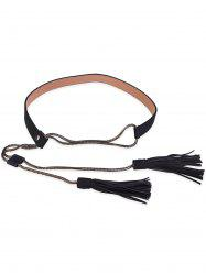 Retro Faux Leather Long Tassel Waist Belt -