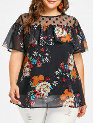 Dotted Mesh Panel Plus Size Floral Blouse -