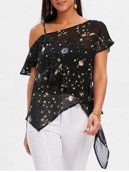 Asymmetrical Cold Shoulder Galaxy Sheer Blouse -