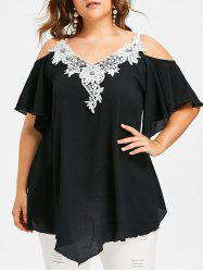 Lace Trim Plus Size Cold Shoulder T-shirt -