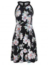 Floral Print Round Neck Fit and Flare Dress -