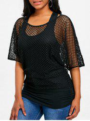 Fishnet Mesh Panel Faux Twinset Top -