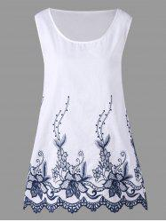 Plus Size Contrast Embroidery Scalloped Tank Top -