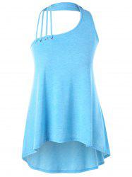 Plus Size Strappy Halter Neck Dip Hem Tank Top -
