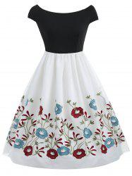 Mesh Floral Embroidery Flare Dress -