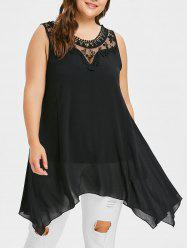 Plus Size Mesh Yoke Swing Top -