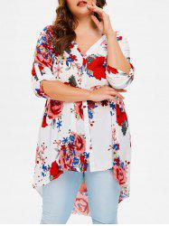 Plus Size Floral High Low Shirt -