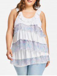 Plus Size Bertha Collar Tiered Tank Top -