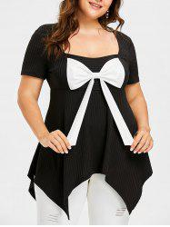 Plus Size Square Neck Bow Bust T-shirt -
