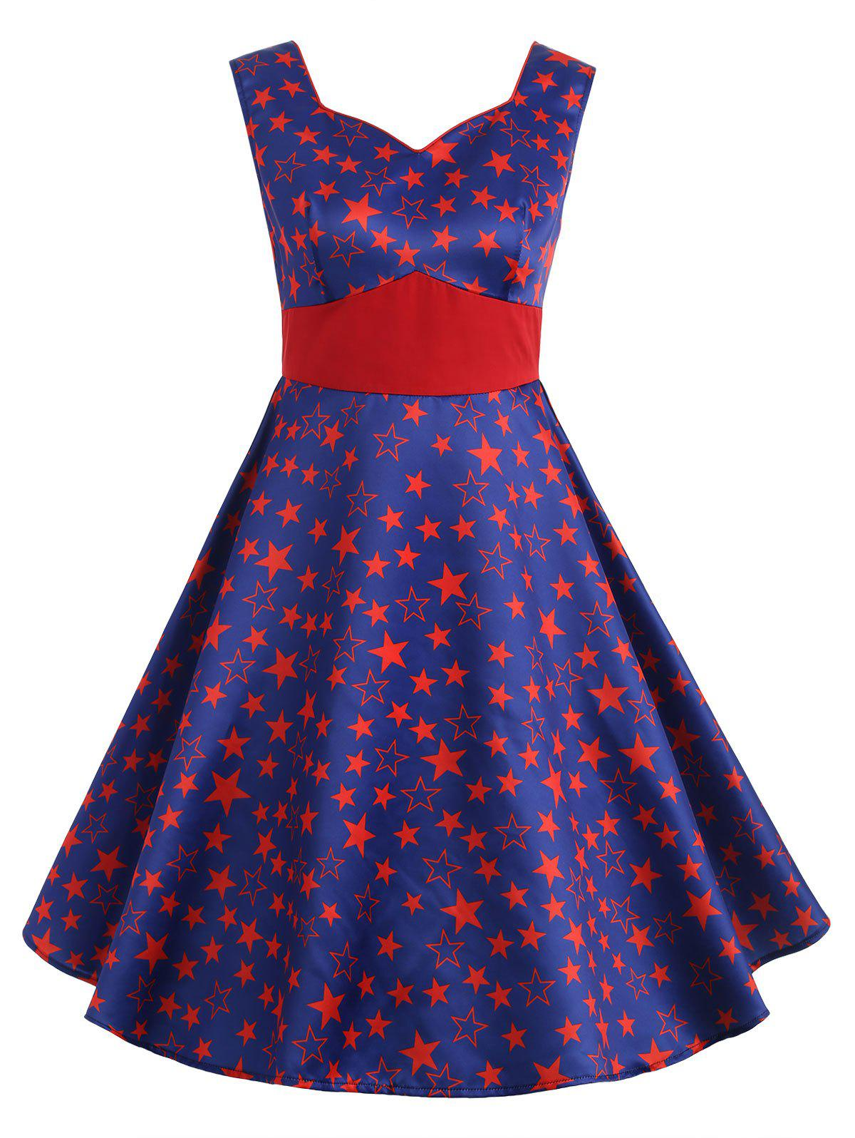 Cheap Vintage Star Print High Waisted Flare Dress