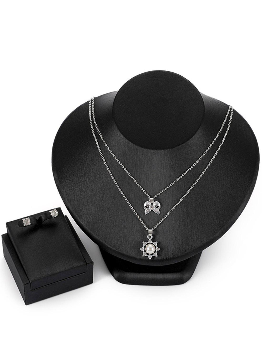 Affordable Layered Bowknot Sun Pendant Necklace Rhinestone Earrings Jewelry Set