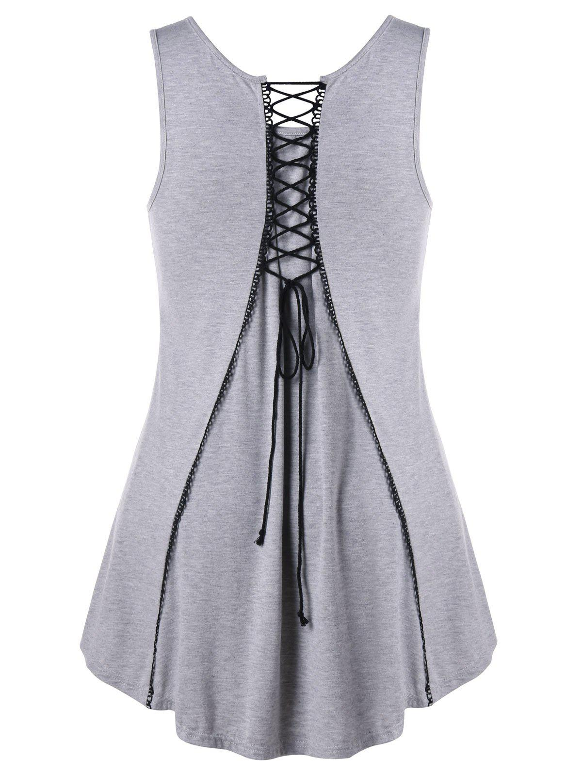 Sale Plus Size Lace Up High Low Tank Top