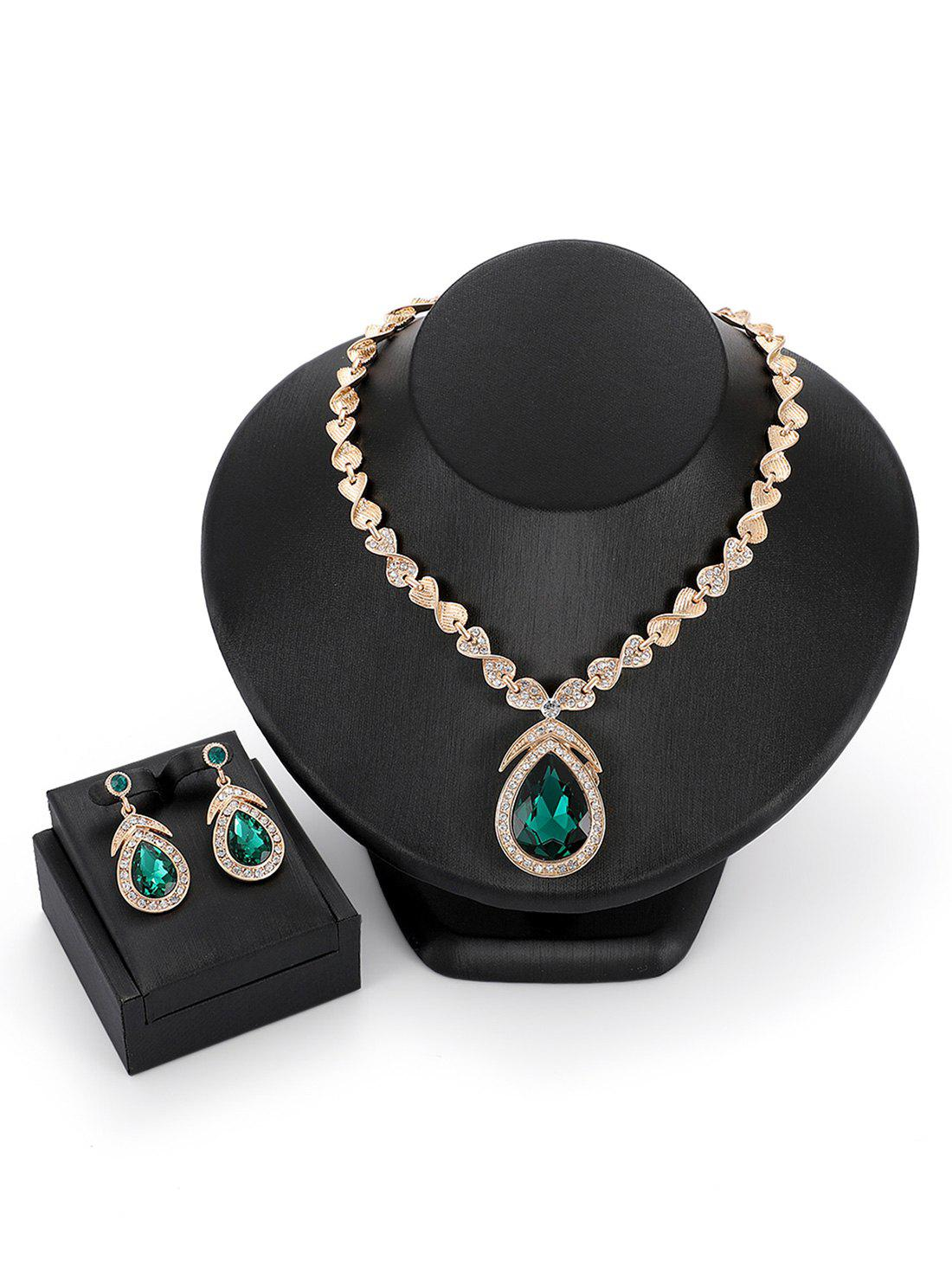 Fashion Faux Gemstones Drop Shaped Pendant Jewelry Set