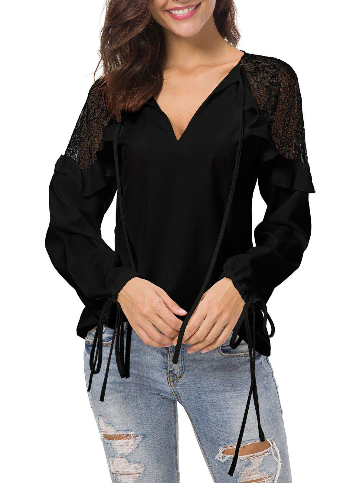 Affordable Plunge Mesh Panel Blouse