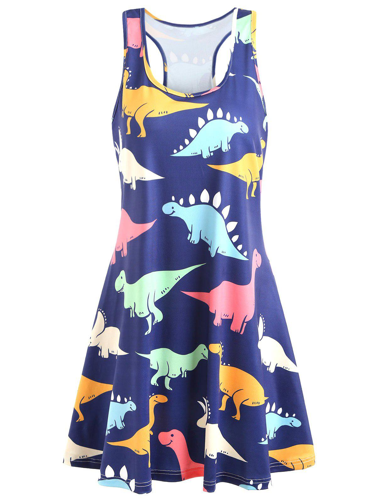 Plus Size Dinosaur Racerback Dress   2x by Rosegal