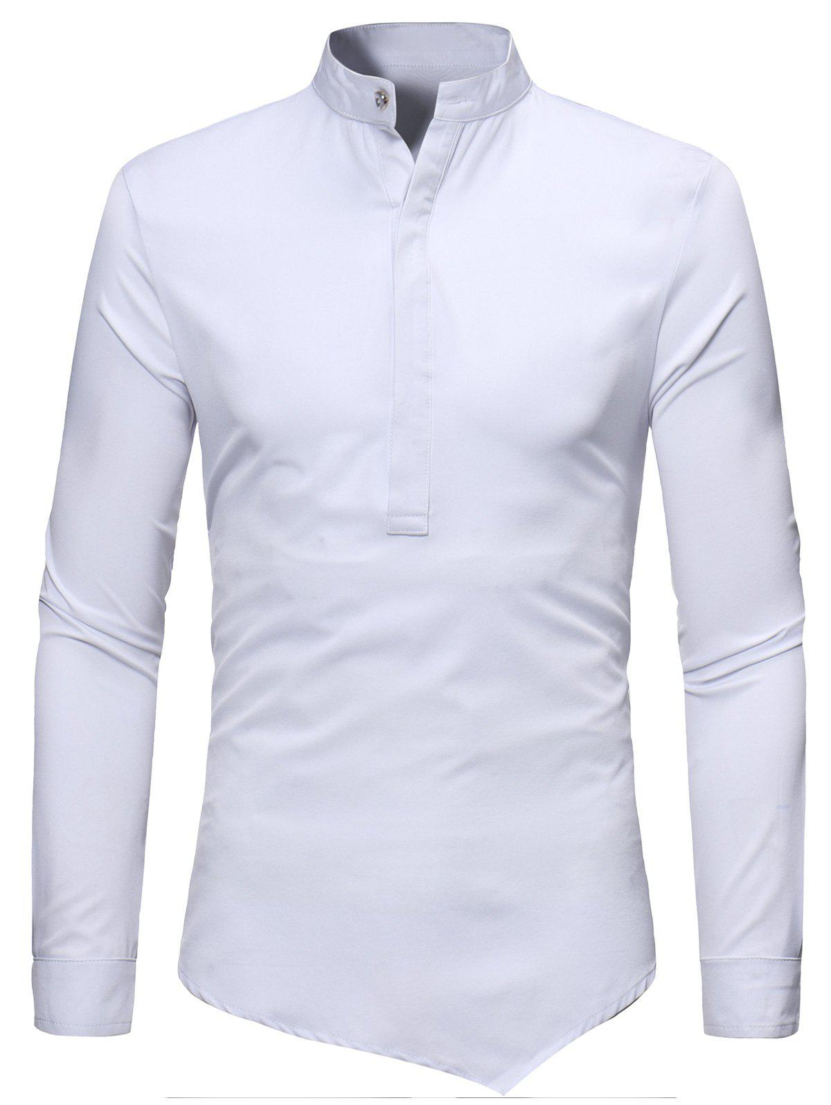 Trendy Grandad Collar Half Button Asymmetric Tee
