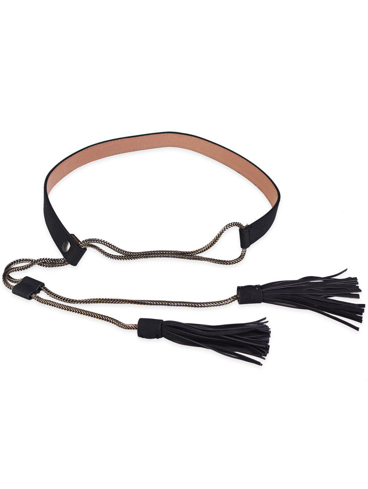 Buy Retro Faux Leather Long Tassel Waist Belt